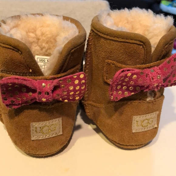 UGG Shoes | Baby S With Pink Gold Bow